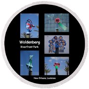 Sculptures In Woldenberg Riverfront Park Round Beach Towel
