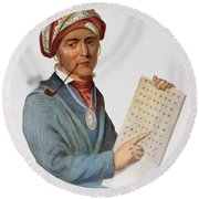 Se-quo-yah Or George Guess, 1828, Illustration From The Indian Tribes Of North America, Vol.1 Round Beach Towel