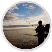Sea Angling At Stage Cove Round Beach Towel