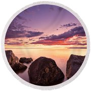 Sea At Sunset The Sky Is In Beautiful Dramatic Color Round Beach Towel