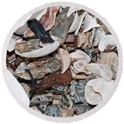 Round Beach Towel featuring the photograph Sea Debris 1 by WB Johnston
