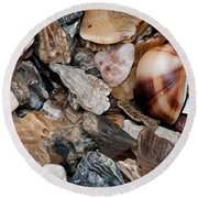Round Beach Towel featuring the photograph Sea Debris 5 by WB Johnston