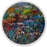 Round Beach Towel featuring the painting Sea Garden by John Williams