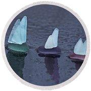 Sea Glass Flotilla Round Beach Towel