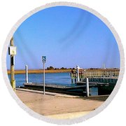Round Beach Towel featuring the photograph Sea Gulls Watching Over The Wetlands by Amazing Photographs AKA Christian Wilson