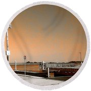 Round Beach Towel featuring the photograph Sea Gulls Watching Over The Wetlands In Orange by Amazing Photographs AKA Christian Wilson