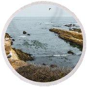 Sea Life Cliffs Round Beach Towel