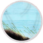 Round Beach Towel featuring the drawing Sea Oats In The Wind Drawing by D Hackett