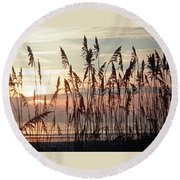 Fabulous Blue Sea Oats Sunrise Round Beach Towel by Belinda Lee