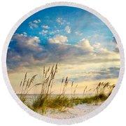 Sea Oats Sunset Round Beach Towel