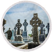 Sea  Of Celtic Crosses Round Beach Towel