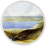 Sea Of Galilee Round Beach Towel by Munir Alawi