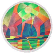 Round Beach Towel featuring the painting Sea Of Green by Tracey Harrington-Simpson