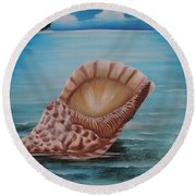 Round Beach Towel featuring the painting Sea Shell by Dianna Lewis