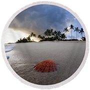 Sea Shell Sunrise Round Beach Towel