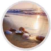 Sea Shells On Sand Round Beach Towel