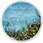 Round Beach Towel featuring the digital art Sea Shore 1 by David Lane