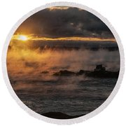 Sea Smoke Sunrise Round Beach Towel