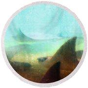 Sea Spirits - Manta Ray Art By Sharon Cummings Round Beach Towel