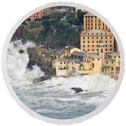 Round Beach Towel featuring the photograph Sea Storm In Camogli - Italy by Antonio Scarpi