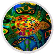 Sea Turtle - Abstract Ocean - Native Art Round Beach Towel