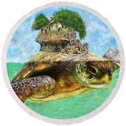 Sea Turtle Island Round Beach Towel