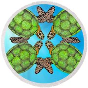 Sea Turtles Round Beach Towel by Betsy Knapp