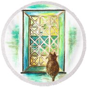 Curiosity - Cat Round Beach Towel by Teresa White
