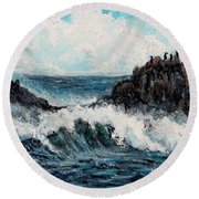 Round Beach Towel featuring the painting Sea Whisper by Shana Rowe Jackson