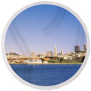 Sea With A City In The Background, Coit Round Beach Towel