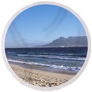 Sea With Table Mountain Round Beach Towel