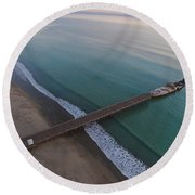 Seacliff State Beach From Above Round Beach Towel