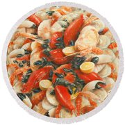 Seafood Extravaganza Round Beach Towel