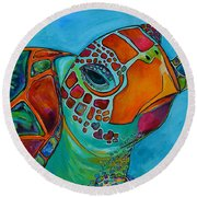 Seaglass Sea Turtle Round Beach Towel