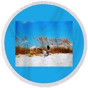 Seagull In Flight Beach Landing Round Beach Towel by Belinda Lee