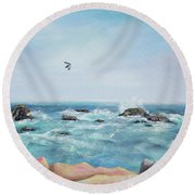 Seagull Over The Ocean Round Beach Towel