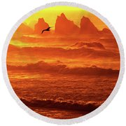 Round Beach Towel featuring the photograph Seagull Soaring Over The Surf At Sunset Oregon Coast by Dave Welling