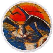 Seagulls At Sunset Round Beach Towel by Mona Edulesco