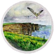 Seagulls At The Cliffs Of Moher Round Beach Towel