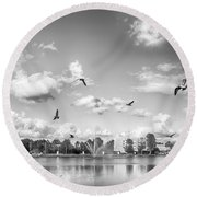 Seagulls Round Beach Towel by Howard Salmon