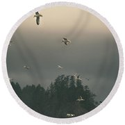 Seagulls In A Storm Round Beach Towel