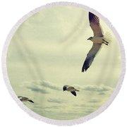 Seagulls In Flight Round Beach Towel