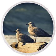 Round Beach Towel featuring the photograph Seagulls On A Beach by Yulia Kazansky