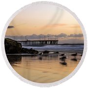 Seagulls On The Coast Round Beach Towel by Mike Ste Marie