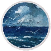 Round Beach Towel featuring the painting Seagulls Over Adriatic Sea by AmaS Art