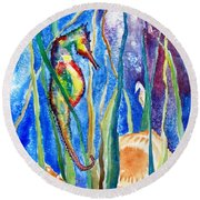 Seahorse And Shells Round Beach Towel