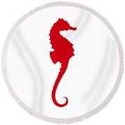 Seahorse In Red Round Beach Towel