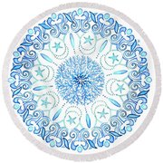 Seahorse Mandala Round Beach Towel by Stephanie Troxell