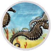Seahorses Round Beach Towel by English School