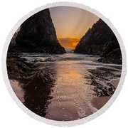 Round Beach Towel featuring the photograph Seal Rock 1 by Jacqui Boonstra